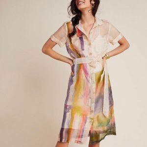 Anthropologie Aimee Clark Organza Silk Shirtdress